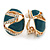 Oval Teal Green Enamel, Clear Crystal Clip On Earrings In Gold Plating - 20mm L