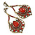Vintage Inspired Red Acrylic Bead, Clear Crystal Chandelier Earrings In Gold Tone - 80mm L