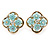 Gold Tone Light Blue Acrylic, Clear Crystal Floral Stud Earrings - 16mm