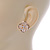 Gold Tone Cream Acrylic, Clear Crystal Floral Stud Earrings - 16mm - view 6