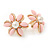 Baby Pink Acrylic, Crystal Flower Stud Earrings In Gold Tone - 20mm D - view 2