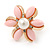 Baby Pink Acrylic, Crystal Flower Stud Earrings In Gold Tone - 20mm D - view 3