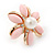 Baby Pink Acrylic, Crystal Flower Stud Earrings In Gold Tone - 20mm D - view 4