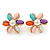 Multicoloured Acrylic, Crystal Flower Stud Earrings In Gold Tone - 20mm D