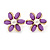 Purple Acrylic, Crystal Flower Stud Earrings In Gold Tone - 20mm D