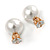 13mm/ 5mm Gorgeous Wedding/ Bridal/ Prom White Faux Pearl Front Back Stud Earrings In Gold Tone Metal - view 3