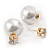 13mm/ 5mm Gorgeous Wedding/ Bridal/ Prom White Faux Pearl Front Back Stud Earrings In Gold Tone Metal - view 2