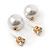 13mm/ 5mm Gorgeous Wedding/ Bridal/ Prom White Faux Pearl Front Back Stud Earrings In Gold Tone Metal - view 5