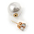 13mm/ 5mm Gorgeous Wedding/ Bridal/ Prom White Faux Pearl Front Back Stud Earrings In Gold Tone Metal - view 4
