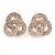 Rose Gold Cz Trinity Borromean Rings Stud Earrings - 17mm D