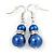 Purple Blue Glass Pearl, Crystal Drop Earrings In Rhodium Plating - 40mm L