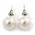 8mm Classic White Lustrous Faux Pearl Stud Earrings In Silver Tone Metal - view 2