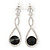 Bridal/ Prom/ Wedding Black/ Clear Austrian Crystal Infinity Drop Earrings In Rhodium Plating - 50mm L