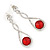 Bridal/ Prom/ Wedding Red/ Clear Austrian Crystal Infinity Drop Earrings In Rhodium Plating - 50mm L - view 5