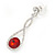 Bridal/ Prom/ Wedding Red/ Clear Austrian Crystal Infinity Drop Earrings In Rhodium Plating - 50mm L - view 3
