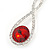 Bridal/ Prom/ Wedding Red/ Clear Austrian Crystal Infinity Drop Earrings In Rhodium Plating - 50mm L - view 2