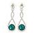 Bridal/ Prom/ Wedding Emerald Green/ Clear Austrian Crystal Infinity Drop Earrings In Rhodium Plating - 50mm L