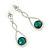Bridal/ Prom/ Wedding Emerald Green/ Clear Austrian Crystal Infinity Drop Earrings In Rhodium Plating - 50mm L - view 5