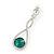 Bridal/ Prom/ Wedding Emerald Green/ Clear Austrian Crystal Infinity Drop Earrings In Rhodium Plating - 50mm L - view 2