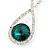 Bridal/ Prom/ Wedding Emerald Green/ Clear Austrian Crystal Infinity Drop Earrings In Rhodium Plating - 50mm L - view 3