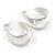 Medium Polished Silver Plated Half Hoop/ Creole Earrings - 37mm L - view 5