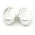 Medium Polished Silver Plated Half Hoop/ Creole Earrings - 37mm L - view 3