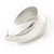 Medium Polished Silver Plated Half Hoop/ Creole Earrings - 37mm L - view 6