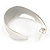 Medium Polished Silver Plated Half Hoop/ Creole Earrings - 37mm L - view 4