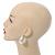 Medium Polished Silver Plated Half Hoop/ Creole Earrings - 37mm L - view 2