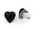 Small Black Acrylic Heart Stud Earrings In Silver Tone - 10mm L - view 3
