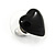 Small Black Acrylic Heart Stud Earrings In Silver Tone - 10mm L - view 5