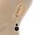 Black Ceramic Bead with Crystal Ring Drop Earrings In Silver Tone - 40mm L - view 4