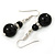 Black Ceramic Bead with Crystal Ring Drop Earrings In Silver Tone - 40mm L - view 3