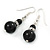 Black Ceramic Bead with Crystal Ring Drop Earrings In Silver Tone - 40mm L - view 6