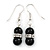 Small Black Ceramic Bead with Crystal Ring Drop Earrings In Silver Tone - 40mm L