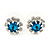 Small Emerald Azure/ Clear Diamante Stud Earrings In Silver Finish - 10mm D