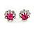 Small Fuchsia/ Clear Diamante Stud Earrings In Silver Finish - 10mm D