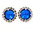 Sapphire Blue/ Clear Round Cut Acrylic Bead Stud Earrings In Silver Tone - 20mm D