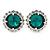 Emerald Green/ Clear Round Cut Acrylic Bead Stud Earrings In Silver Tone - 20mm D