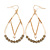 Teardrop Chain with Light Grey Crystal Bead Hoop Earrings In Gold Tone Metal - 70mm L
