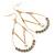 Teardrop Chain with Light Grey Crystal Bead Hoop Earrings In Gold Tone Metal - 70mm L - view 4