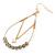Teardrop Chain with Light Grey Crystal Bead Hoop Earrings In Gold Tone Metal - 70mm L - view 5