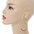 Teardrop Chain with Light Grey Crystal Bead Hoop Earrings In Gold Tone Metal - 70mm L - view 6