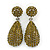 Bridal, Prom, Wedding Pave Olive Green Austrian Crystal Teardrop Earrings In Rhodium Plating - 48mm L