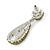 Bridal, Prom, Wedding Pave Olive Green Austrian Crystal Teardrop Earrings In Rhodium Plating - 48mm L - view 4