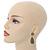 Bridal, Prom, Wedding Pave Olive Green Austrian Crystal Teardrop Earrings In Rhodium Plating - 48mm L - view 2