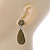 Bridal, Prom, Wedding Pave Olive Green Austrian Crystal Teardrop Earrings In Rhodium Plating - 48mm L - view 3
