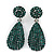 Bridal, Prom, Wedding Pave Emerald Green Austrian Crystal Teardrop Earrings In Rhodium Plating - 45mm L
