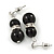 9mm Black Ceramic Bead With Crystal Ring Drop Earrings In Silver Tone - 30mm - view 2