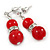 9mm Bright Red Ceramic Bead With Crystal Ring Drop Earrings In Silver Tone - 30mm - view 2